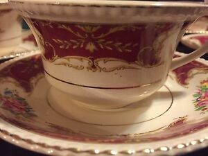 5 18 k gold China tea cups and saucers
