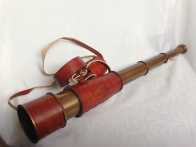 Vintage Brass Telescope Nautical Marine Maritime Antique Leather Spyglass Gift
