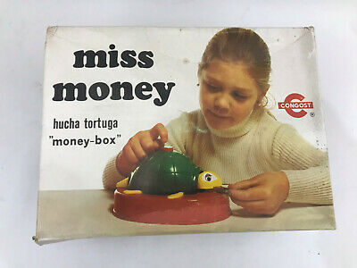 HUCHA TORTUGA Congost 1977 Miss Money Box salvadanaio meccanico vintage NEW MIB