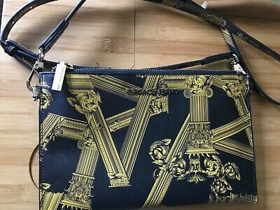 Versace Jeans Logo Crossbody / clutch  Bag barely used black and yellow