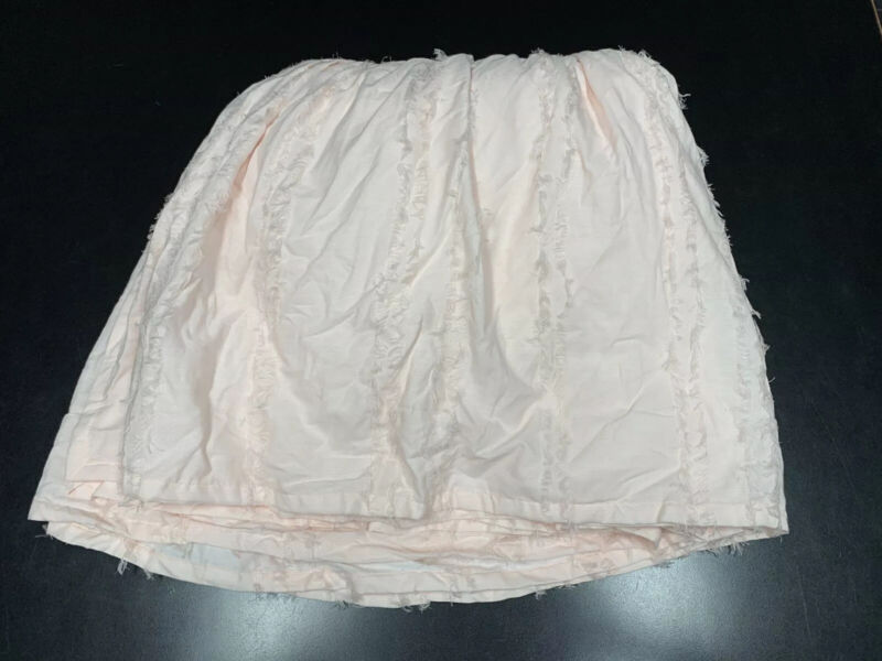 Restoration Hardware Baby & Child Frayed Voile Crib Skirt Petal Pink Girl Ruffle