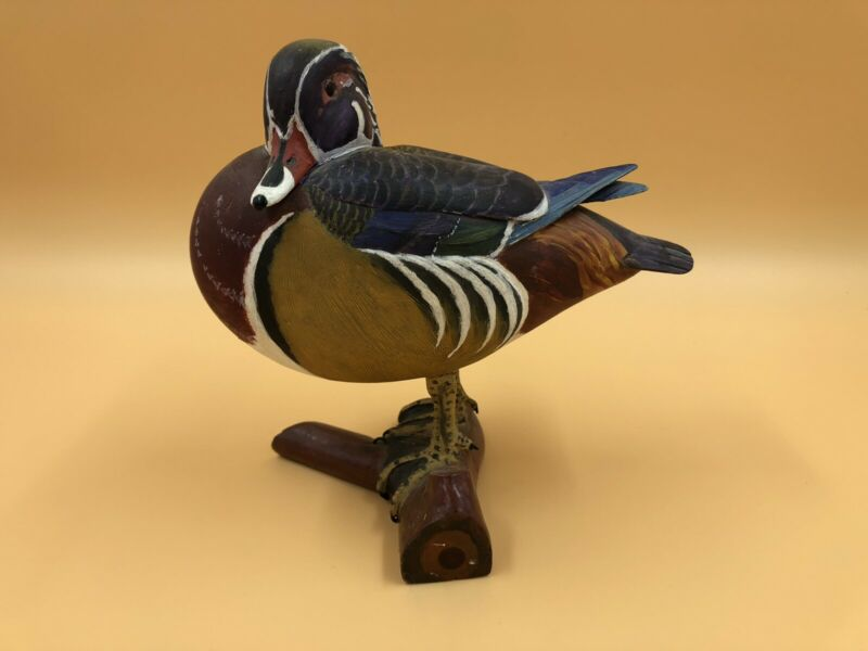 Vintage Fantastic Quality Original Hand Carved & Painted Wood Duck Bird Figure