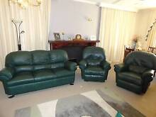 Quality Dark Green Leather Lounge and 2 Recliners Sheffield Kentish Area Preview