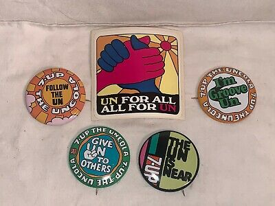 Lot 5 vintage 1970s 7up 7 UP Button Pinback Pin Sticker UN FOR ALL Follow the UN