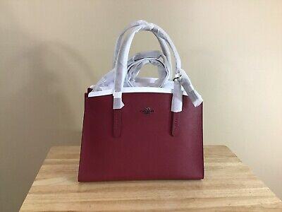 Coach Charlie Pebbled Leather Carryall Satchel Handbag Gunmetal Deep Red NWT Deep Red Leather Handbag
