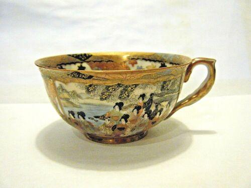 Antique Meiji Gold Satsuma Tea Coffee Cup Japanese Geisha Figures