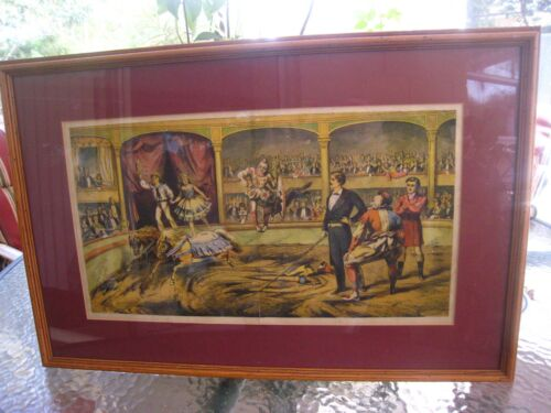 ANTIQUE FRAMED LITHOGRAPH CIRCUS POSTER...EARLY 1900S..EQUESTRIANS