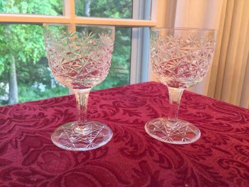 Pair Antique American Brilliant Cut Glass Russian pattern Wine Stems