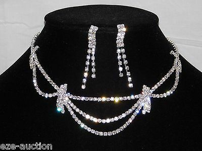 Bridal Wedding Silver W. Clear Rhinestone Crystal Necklace & Drop Earrings Set
