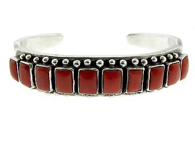 Navajo Sterling Silver Beautiful Rectangles of Coral Handmade Cuff Bracelet