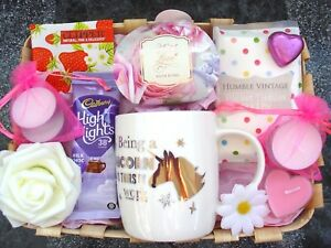BIRTHDAY PAMPER GIFT SET HAMPER BASKET UNICORN MUG PRESENT FRIEND DAUGHTER MUM