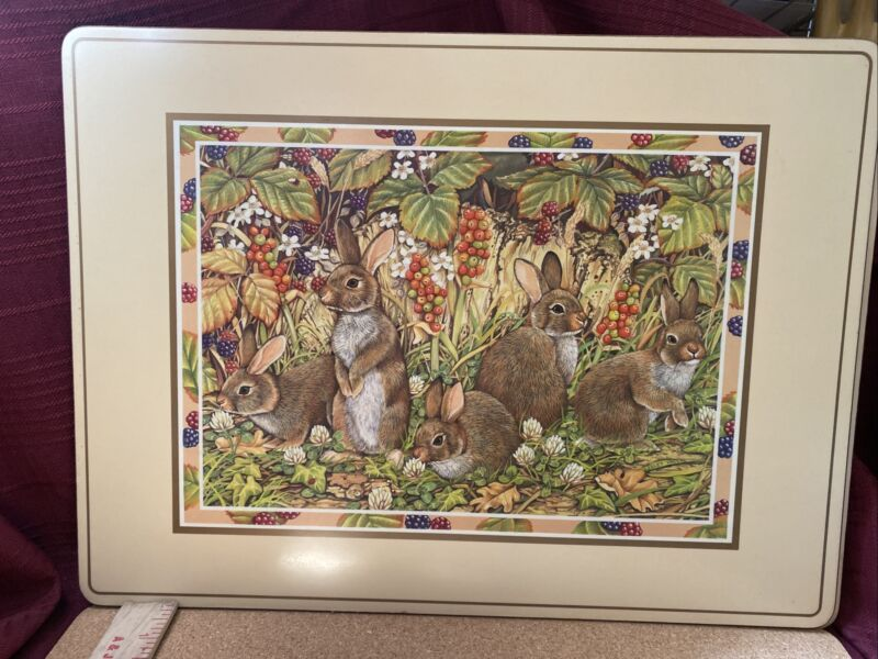 Pimpernel Beautiful Rabbit/Bunny scene placemats- Set of 4