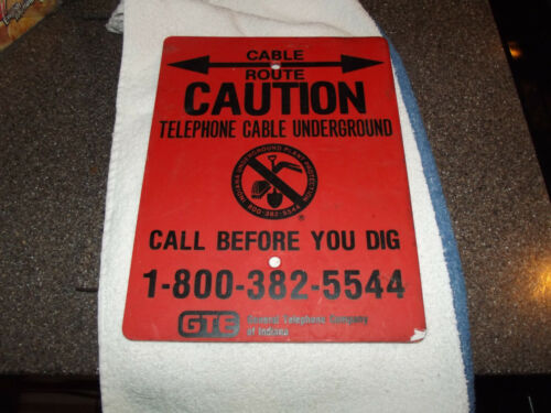 Vintage GTE of Indiana buried cable sign , FREE SHIP