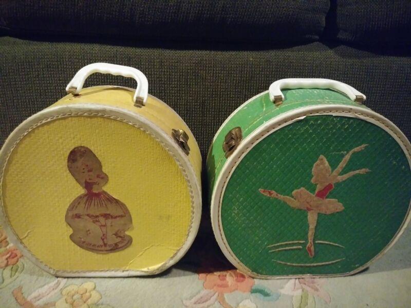 Vintage Ballet Slipper Dance Tote Carry Case Lot of 2, RARE