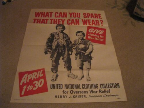 United National Clothing Collection for Overseas War Relief Poster WWII