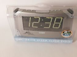 Coby CR-A98 AM/FM Alarm Clock Radio, Large 2 LED Display, Big Snooze Button NEW