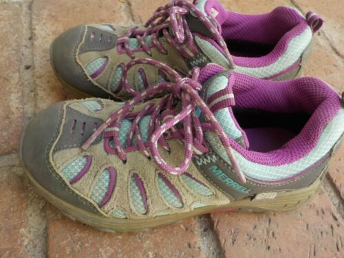 Merrell Chameleon Low Lace Kids Girls Size 12.5M Pink Turquoise Hiking Shoes