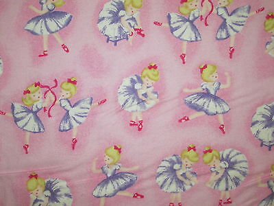 BALLERINA DANCE RIBBONS PINK COTTON FLANNEL FABRIC FQ for sale  Shipping to India