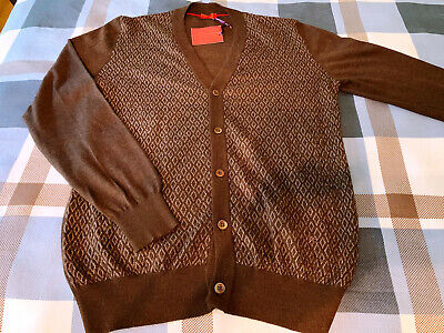 NWT ISAIA 70% Cashmere + 30% Silk Cardigan Sweater M Brown-Diamond Orig $895 New