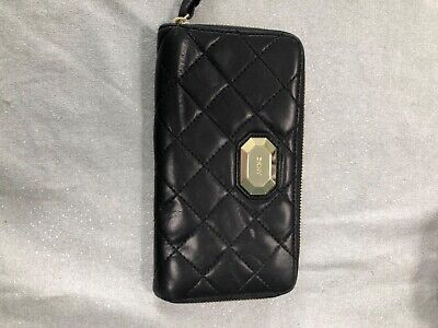 black leather quilted dkny purse