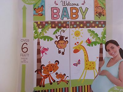 Welcome Baby Scene Setter Wall Banner Jungle Safari Animals of the - Baby Shower Scene Setters