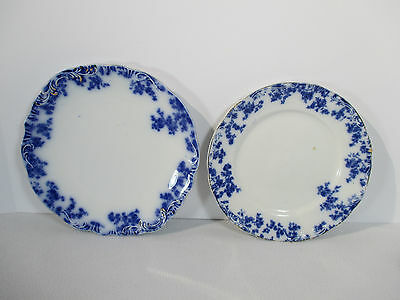 Grindley Blue Flow Platter Dinner Plate Olympia Antique Gold Accent Set of 2