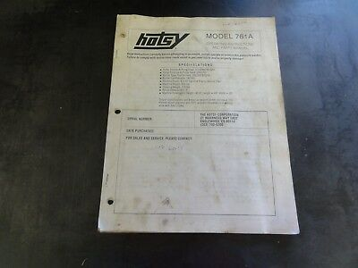 Hotsy Model 761a Pressure Washer Operating Instructions And Parts Manual