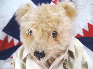 Rare 1920 English J.K.Farnell Alpha Teddy Bear Tan Mohair 16