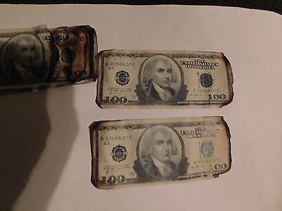1-Dark knight burnt money screen used Batman movie prop $100 bill. Heath Ledger