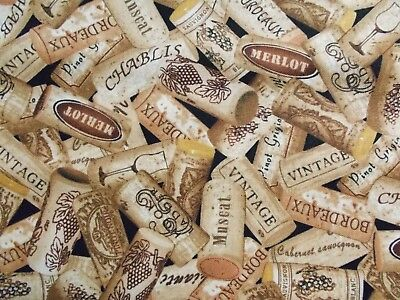 Wine Corks Fabric Quilting Sewing Brown Cotton Timeless Treasures BTHY BTY