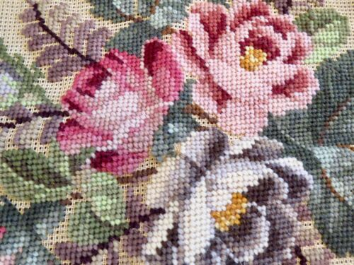 Vintage Needlepoint Kit Partially Complete Canvas PINK & WHITE ROSES NEEDLEPOINT