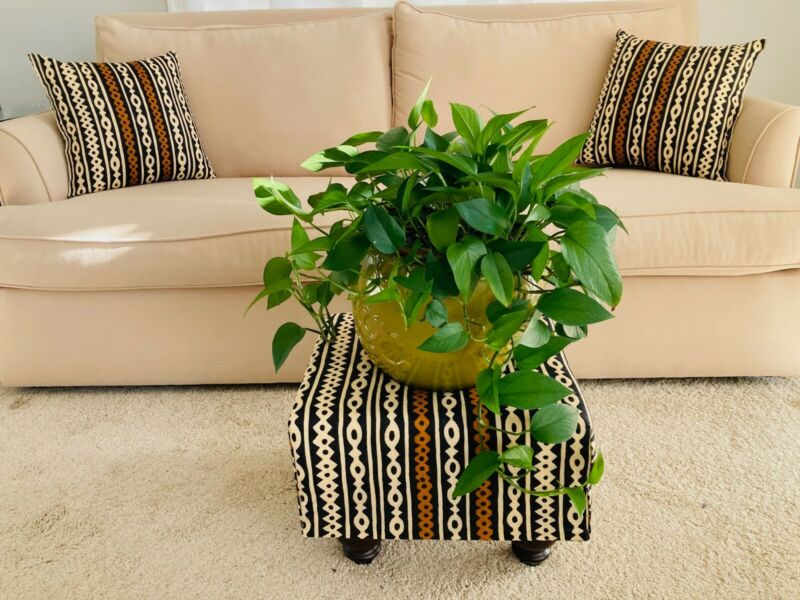 African print foot stools and pillows