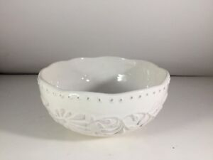 American Atelier BIANCA LEAF  Soup Cereal Bowl Round