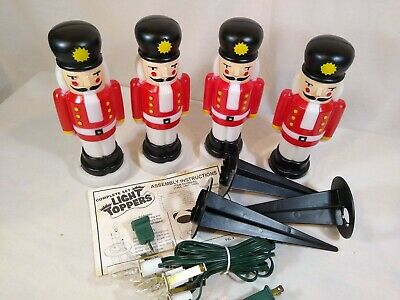 Empire Blow Mold Toy Soldier Nutcracker 4 Light Yard Toppers Vintage Tested