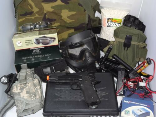 Lot of Airsoft Gear Pistol Parts, Chargers, Sight, Holster, Mask, Goggles, BBs +
