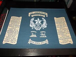THE CAMERONIANS REGIMENT BATTLE HONOURS A4 PRINT