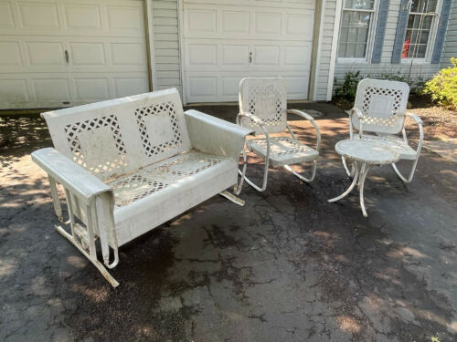 Vintage metal porch glider, rocking chairs, and table Local pick up only Antique