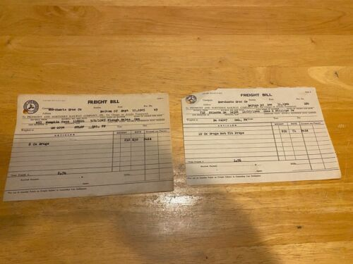 Vintage Ephemera – 1945-1946 Piedmont & Northern Railway Freight Bills