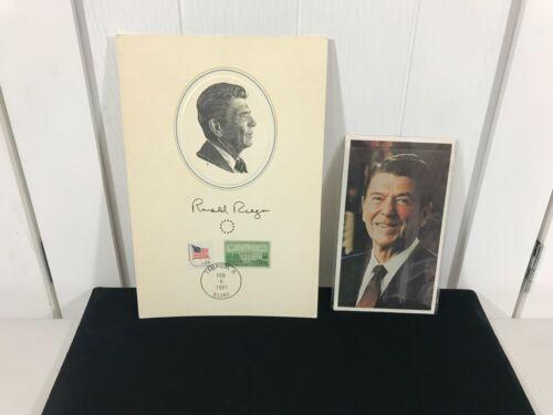 RONALD REAGAN 1980 Postcard and 1981 FLEETWOOD STAMP Card