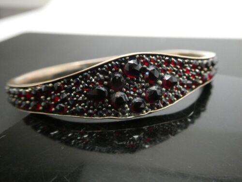 "Antique Victorian Rose Cut Bohemian Garnet Hinged Oval Bangle Bracelet Sz. 7"""