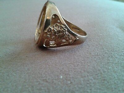 SOVEREIGN RING VINTAGEGEORGE & DRAGONMOUNT GOLD 9CT GOOD CONDITION