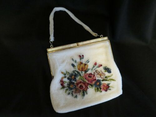 Vintage Beaded Evening Bag Purse with Mother of Pearl Closure Made in Korea 6 1/