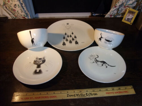DUBOUT CATS!  2002 THIRD EYE CAT EDITIONS CLOUET BLACK & WHITE--5 PC LOT!!!