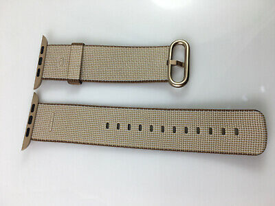 Original Apple Watch Woven NYLON Band Yellow Gold buckle 42MM 44MM Coffee Brown