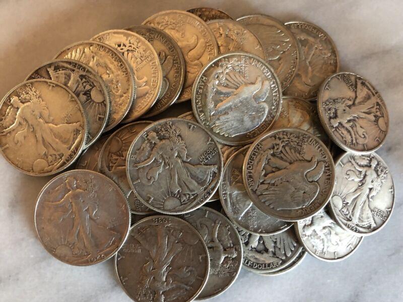 Lot of 3 Different WALKING LIBERTY 90% Silver Half Dollars