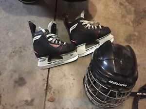 Size 12 kids skates and small helmet