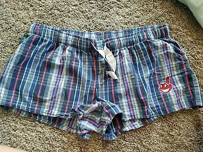 Wahoo Shorts - Chief Wahoo Cleveland Indians Officially Licensed Womens plaid Shorts Size XL