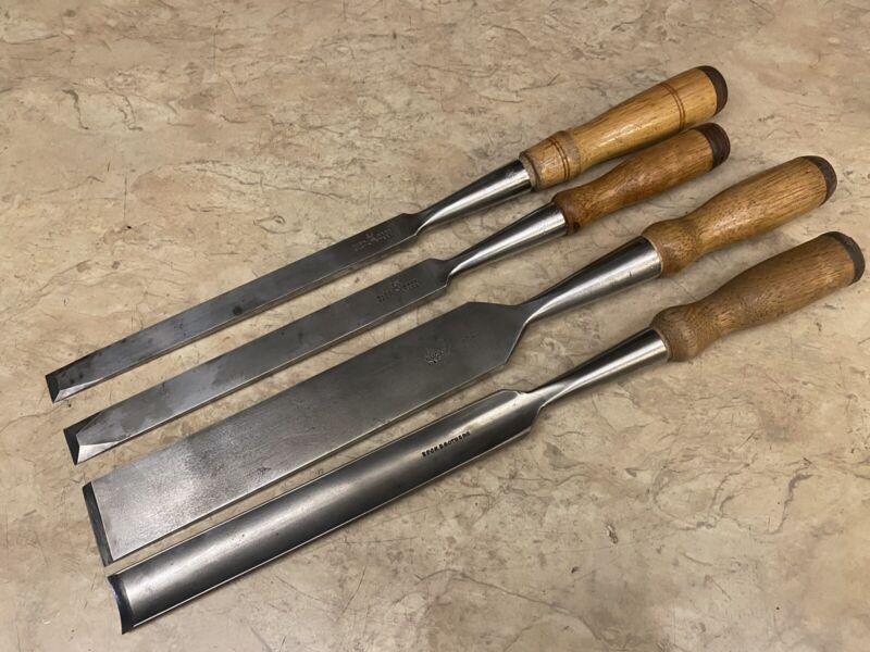 Lot of 4 Vintage Buck Bros. Woodworking Chisels -Firmer Bevel & Gouge Cast Steel