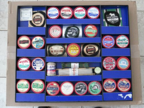 VINTAGE FISHING LINE DISPLAY with  32 UNUSED  SPOOLS /  CONTAINERS   SUPER NICE