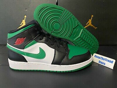 Nike Air Jordan 1 Mid Pine Green Toe Green/Black Gym Red 554724-067 Size 4-13
